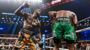 """Deontay Wilder (left) retained his WBC heavyweight title against Luis Ortiz with a 10th-round TKO in March 2018. """"Deontay had developed the puncher's curse. ... He singularly depended on his punches,"""" said Wilder's manager, Shelly Finkel. """"Deontay is a much different fighter for his third bout against Tyson Fury on Oct. 9. (Premier Boxing Champions)"""