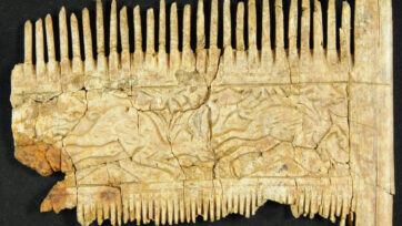 The back of a comb from the sixth century that has been restored after being found in a grave in Deiningen, Germany. (Bavarian State Office for Monument Protection/Zenger)