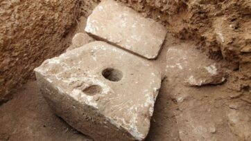 The rare stone toilet, estimated to be 2,700 years old, was most likely used by one of the dignitaries of Jerusalem. (Yoli Schwartz, Israel Antiquities Authority Authority)