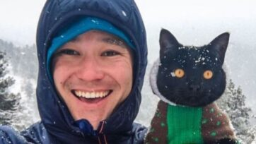Influencer John Yoshihara Jr., better known as JJ Yosh, from Boulder, Colorado, travels with Simon, his pet cat. (@backpackingkitty/Zenge)