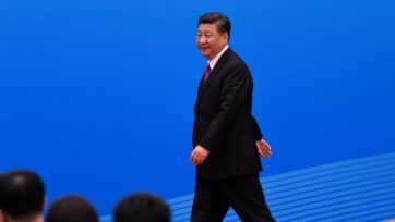 Chinese President Xi Jinping arrives for a press conference after the Belt and Road Forum at the China National Convention Center at the Yanqi Lake venue in Beijing in April 2019. (Wang Zhao - Pool/Getty Images)