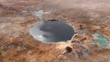 An illustration of Jezero crater as a lake. (NASA, JPL-Caltech/Zenger)