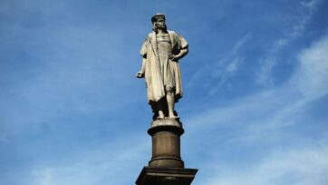 A 76-foot statue of Christopher Columbus stands in Columbus Circle on August 23, 2017, in New York City. Historians have long acknowledged that Columbus didn't discover North America, and a new study suggests he may even have been aware of North America before he ever set sail. (Spencer Platt/Getty Images)
