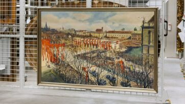Painting by Austrian artist Igo Potsch depicting driving Adolph Hitler to the proclamation of the annexation of Vienna on March 15, 1938. Potsch was a consultant on painting for the Reich Chamber of Fine Arts, Viennastrong /strong(Wien Museum, Paul Bauer/Zenger)