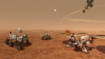This illustration from NASA's website shows future robots working together to ferry back samples taken from Mars' surface for study on Earth. (NASA, ESA, JPL-Caltech/Zenger)