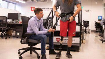 University of Utah Professor Tommaso Lenzi developed an exoskeleton that uses AI to help amputees walk effortlessly. (Dan Hixson, University of Utah)