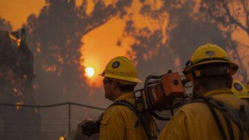 strongLos bomberos luchan contra el incendio de Alisal, el 12 de octubre, cerca de Goleta, California. Empujado por fuertes vientos, el fuego creció y cerró la muy transitada ruta 101, a lo largo de la costa del Pacífico. (David McNew/Getty Images)/strong
