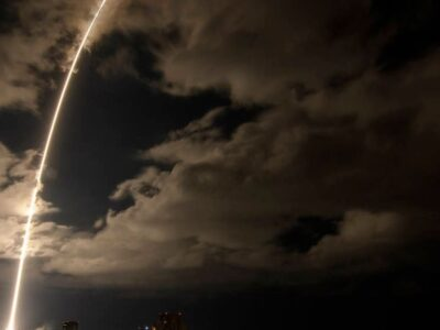 A United Launch Alliance Atlas V rocket with the Lucy spacecraft aboard is seen in this 2-minute and 30-second exposure photograph as it launches from Space Launch Complex 41 at Cape Canaveral Space Force Station in Florida on Oct. 16, 2021. (NASA, Bill Ingalls/Zenger)