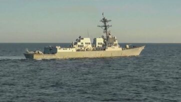 The U.S. Navy dismissed Russian claims that its navy thwarted the U.S.S. Chafee's (shown) attempt to violate its borders, as allegedly seen in footage released by the Russian Ministry of Defense. (Ministry of Defense of Russia/Zenger)