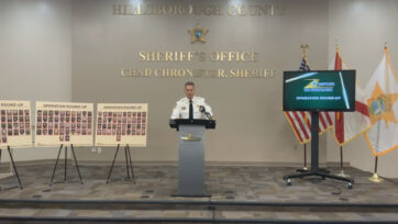 Hillsborough County Sheriff Chad Chronister announces the results of a 20-day human trafficking operation in Florida which led to 125 arrests, including that of a public school teacher and a pastor. (HCSOSheriff/Zenger)