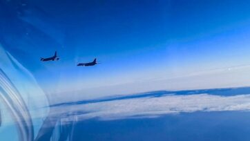 Russian fighter jets were said to have escorted two U.S. B-1B Lancer bombers over the Black Sea and away from Russian borders, the Defense Ministry of the Russian Federation said. The U.S. has not responded to the Russian account of the encounter. (Defense Ministry of the Russian Federation/Zenger)