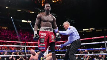 Trainer Malik Scott believes ex-title holder Deontay Wilder (foreground) broke his right hand while flooring WBC heavyweight champion Tyson Fury twice in the fourth round of his 11th-round TKO loss on Oct. 9. Wilder had surgery on Oct. 18 to repair the damage. (Premier Boxing Champions)