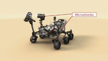 Esta ilustración del rover Perseverance de la NASA indica la ubicación de sus dos micrófonos. (NASA, JPL-Caltech/Zenger)