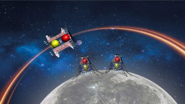 Illustration of the Beresheet 2 Moon mission. The two lunar landers and a lunar orbiter could break several records in outer-space history, including a double landing on the moon in one mission, and launching the smallest-ever spacecraft. (Courtesy of SpaceIL)