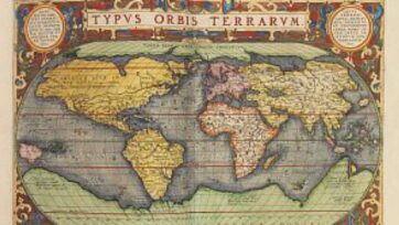 An early 17th-century book containing this world atlas and more than 150 other maps is being offered for sale on Nov. 29 at a German auction house. (Ketterer Kunst/Zenger)