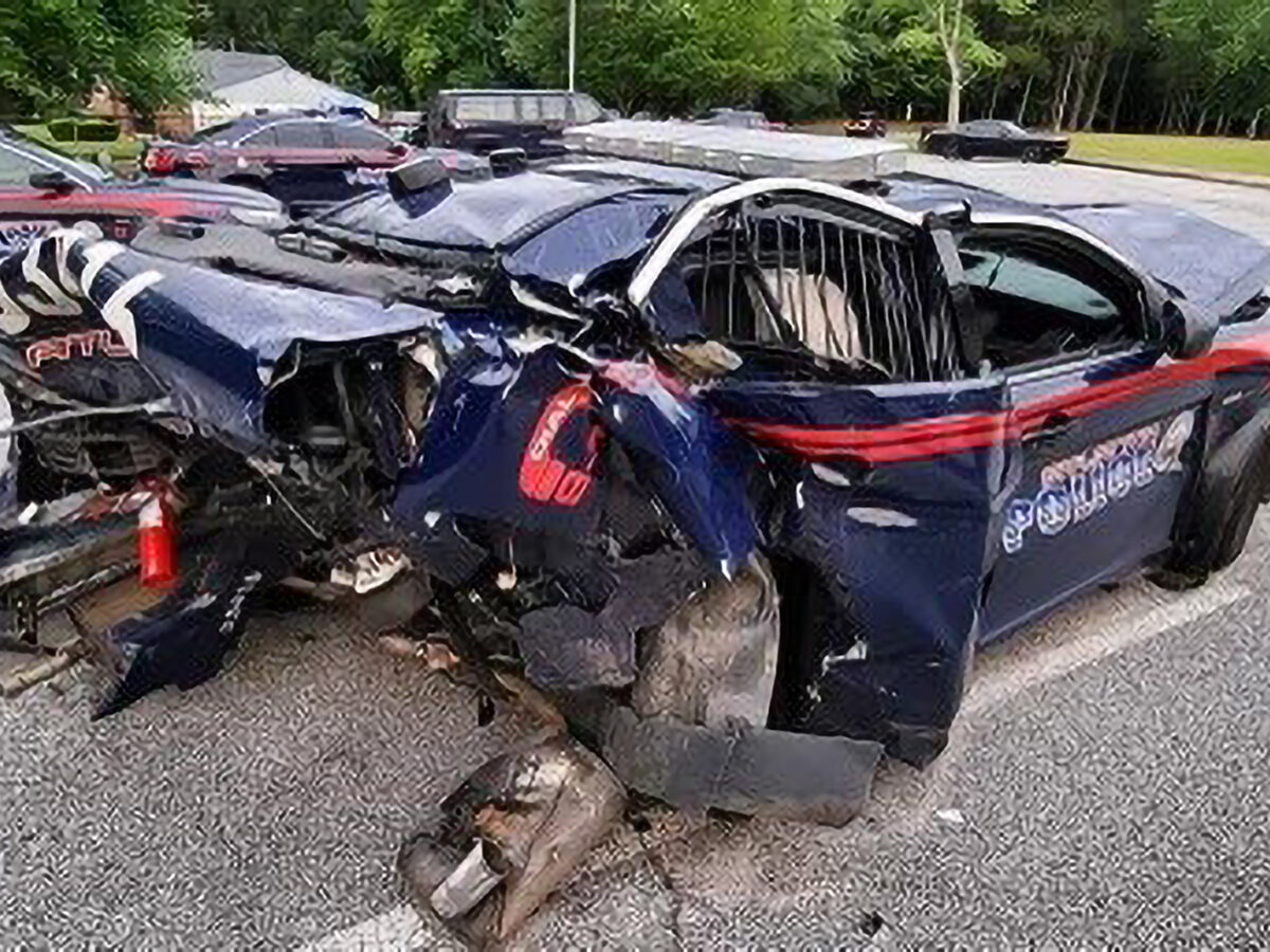 Officer Duc Vo's patrol car after it was rammed by an alleged drunk driver on May 5. The patrol car then hit Vo, who was on the roadside. He is still recovering from his injuries. (Atlanta Police Department/Zenger)