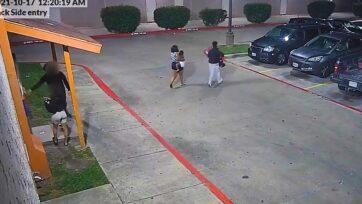 strongMujeres acusadas de raptar a un niño se ven en video en el estacionamiento de un motel el 17 de octubre, en Garland, Texas. (Departamento de Policía de Garland/Zenger)/strong